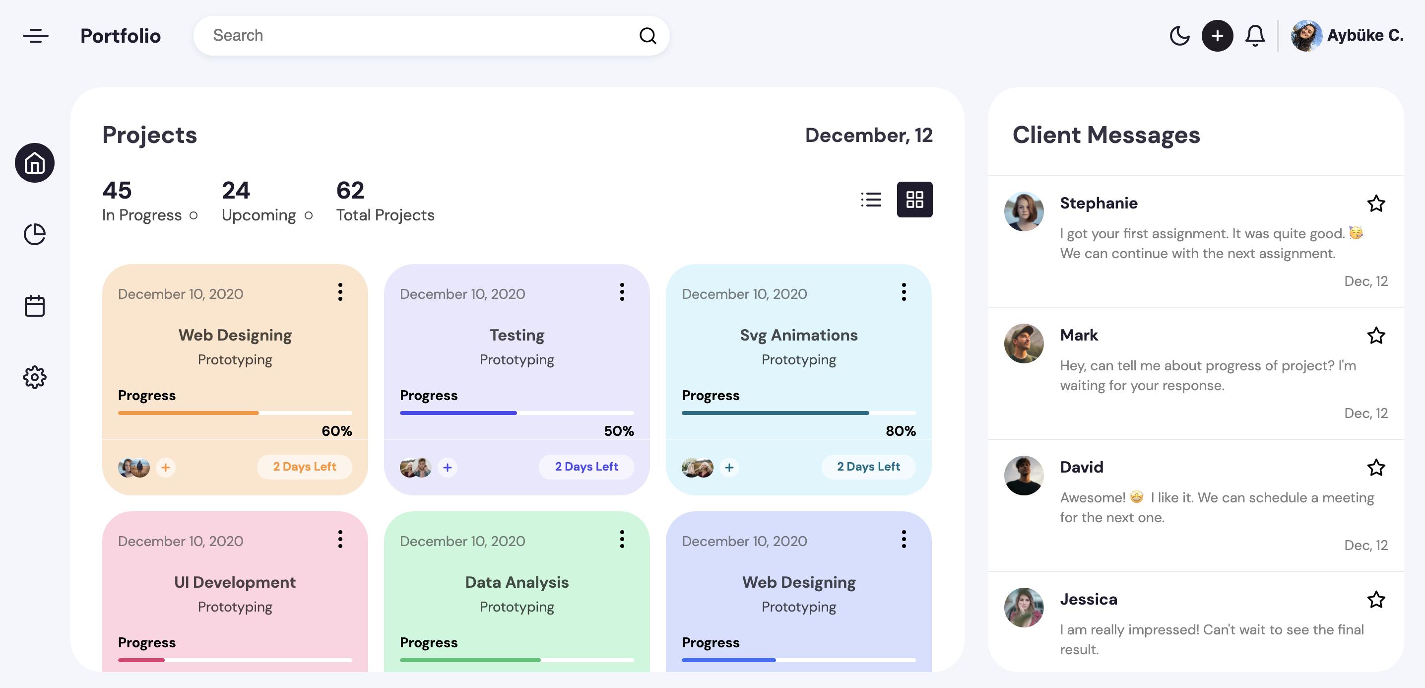 Project Management Dashboard screenshot