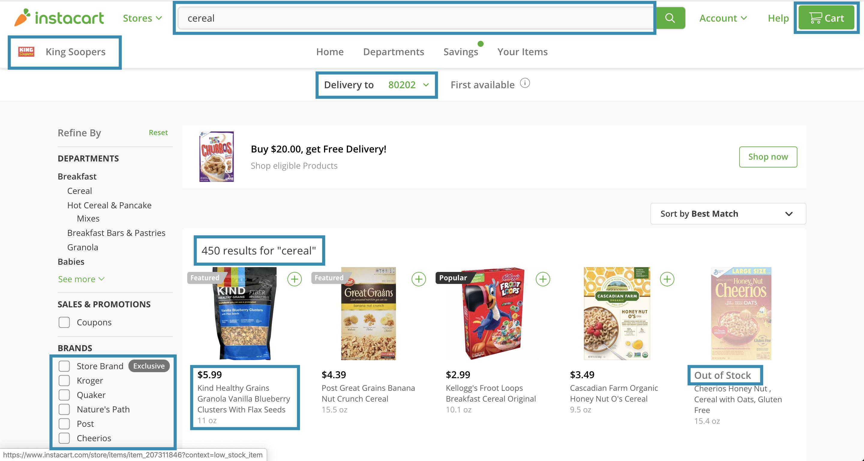 Instacart.com screenshot